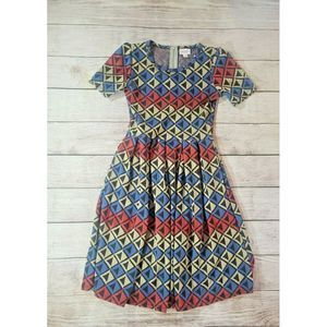 LuLaRoe Amelia Sz XS Aztec Geometric Dress